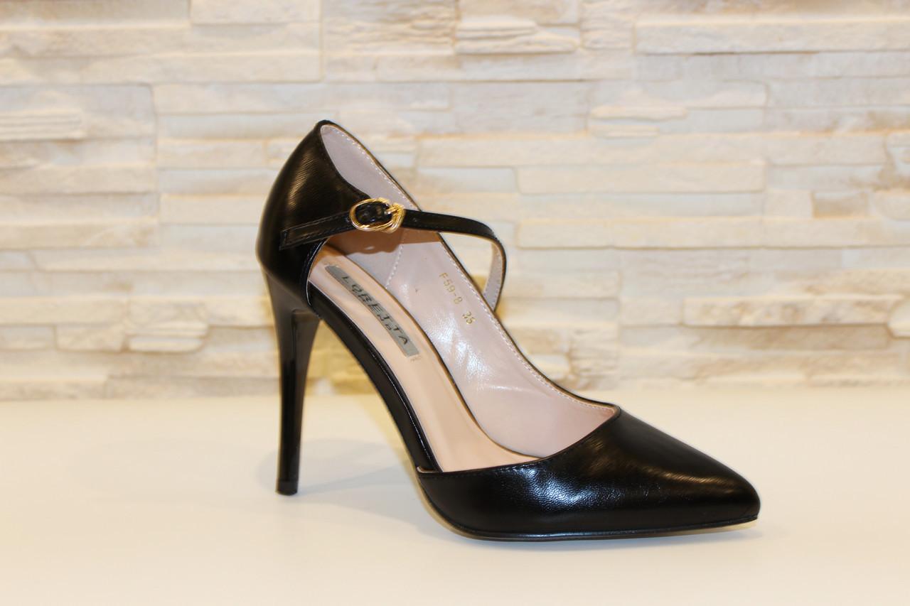 Туфли женские черные на каблуке Т917