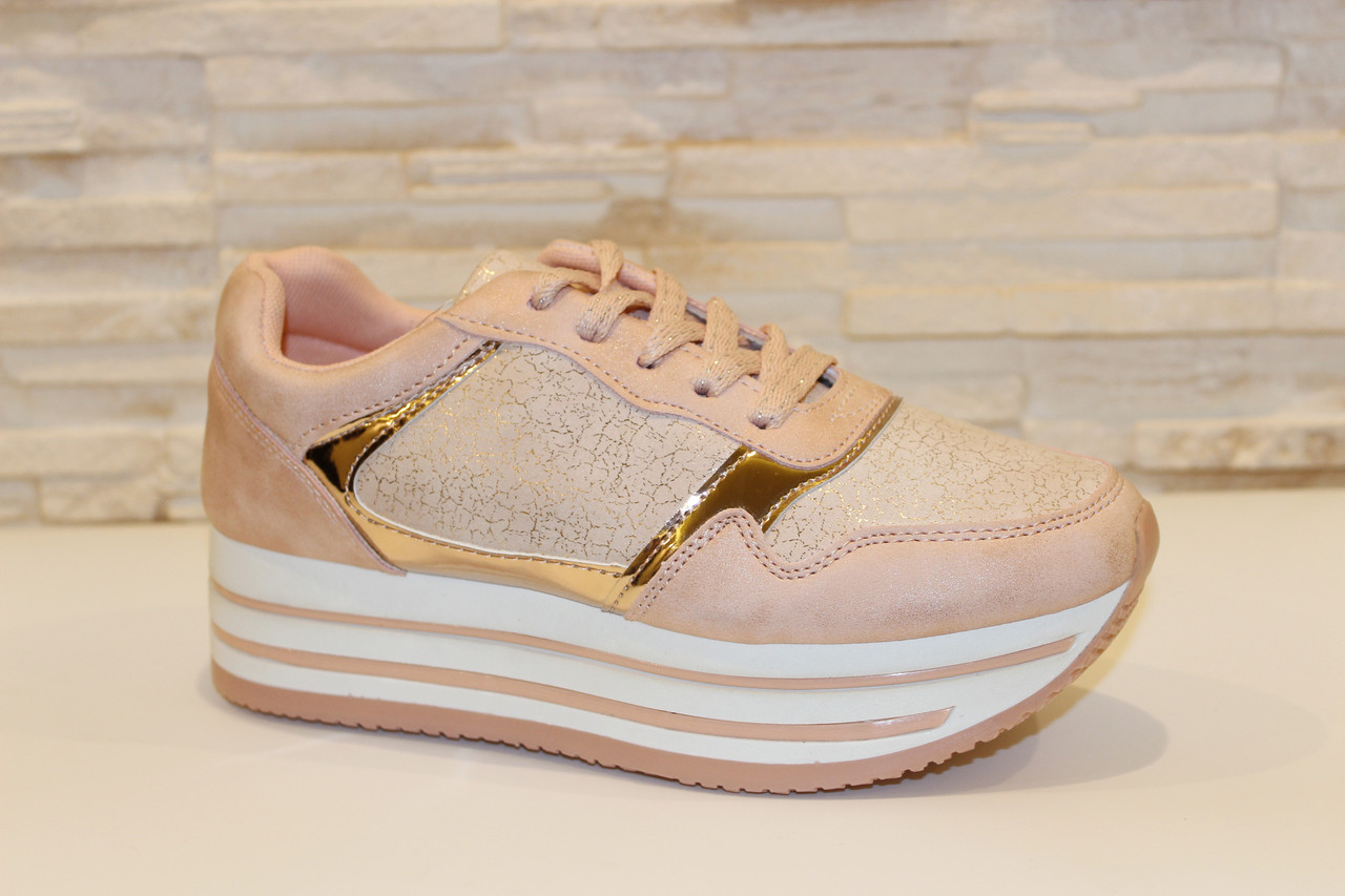 Кроссовки женские розовые Т936