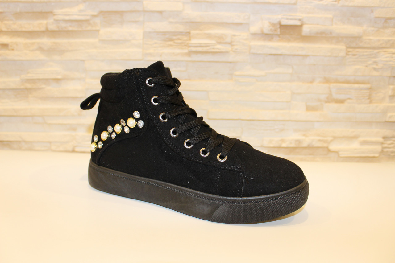 Ботинки женские черные замшевые Д537