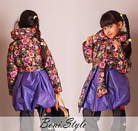 Детская весенняя куртка -пальто для девочки 5- 8 лет Колокольчик верх в  Цветы
