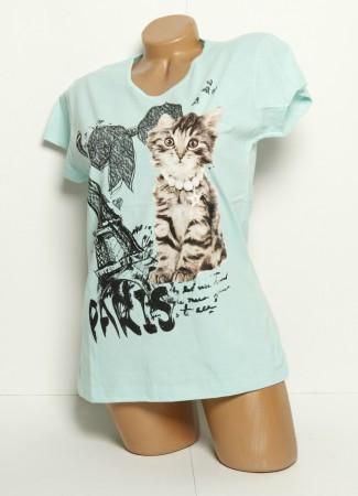 Футболка женская Paris Cat mint размер L (46-48)