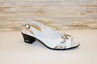 Босоножки женские белые на небольшом каблуке натуральная кожа Б954