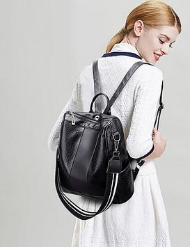 Багатофункціональний місткий рюкзак чорний жіночий код 3-372