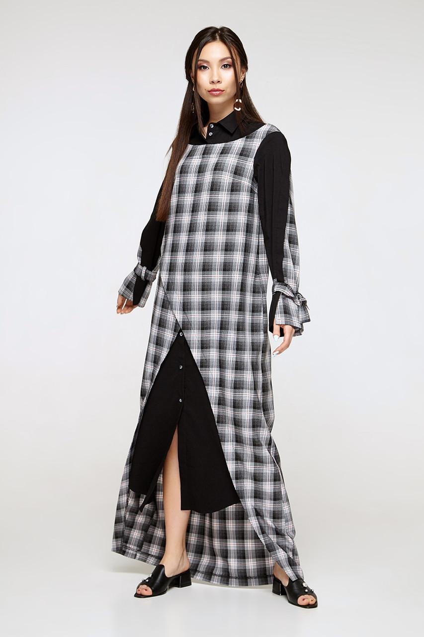 2311 платье Джели клетка, черный (S)