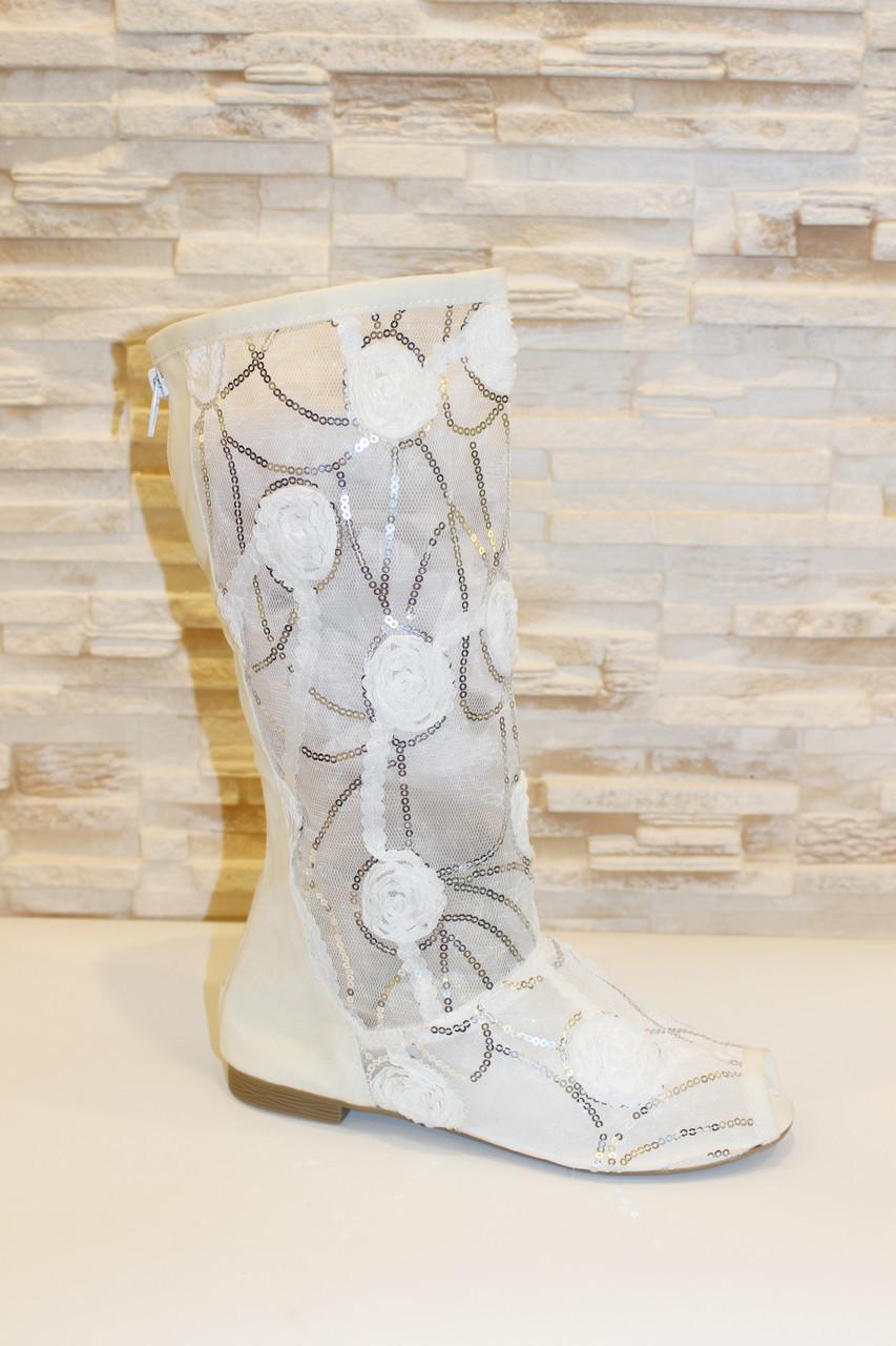 2116485cd Сапоги летние женские белые ажурные Б26 - МОДНЫЙ МАГАЗИН женская обувь,  сумки, кошельки,