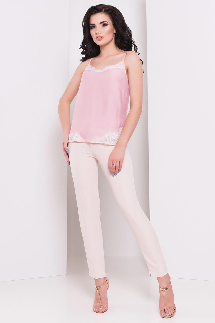 Блуза топ женская розовая шелковая П5