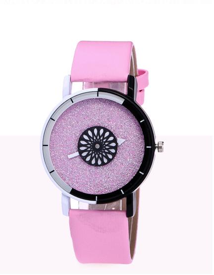 Наручные женские часы с розовым ремешком код 400