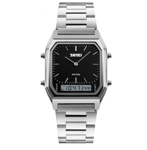 Наручные мужские часы с серебристым ремешком код 403