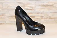 Туфли женские черные на каблуке Т37, фото 1