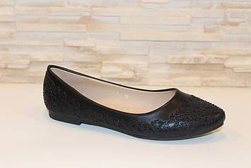 Туфли балетки женские черные Т65