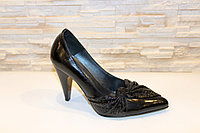 Туфли женские черные на каблуке натуральная кожа Т75, фото 1