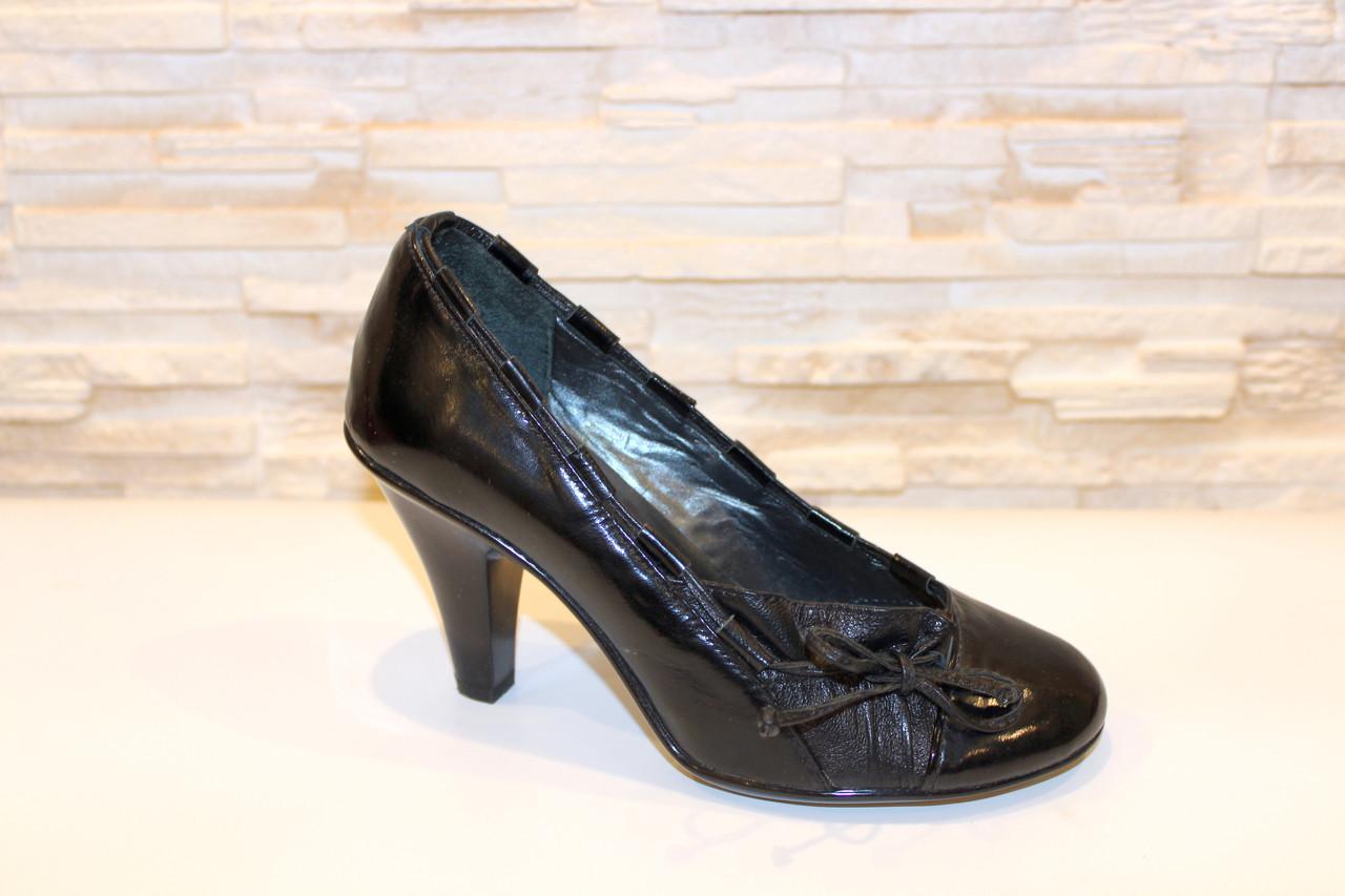 Туфли женские черные на каблуке натуральная кожа Т77