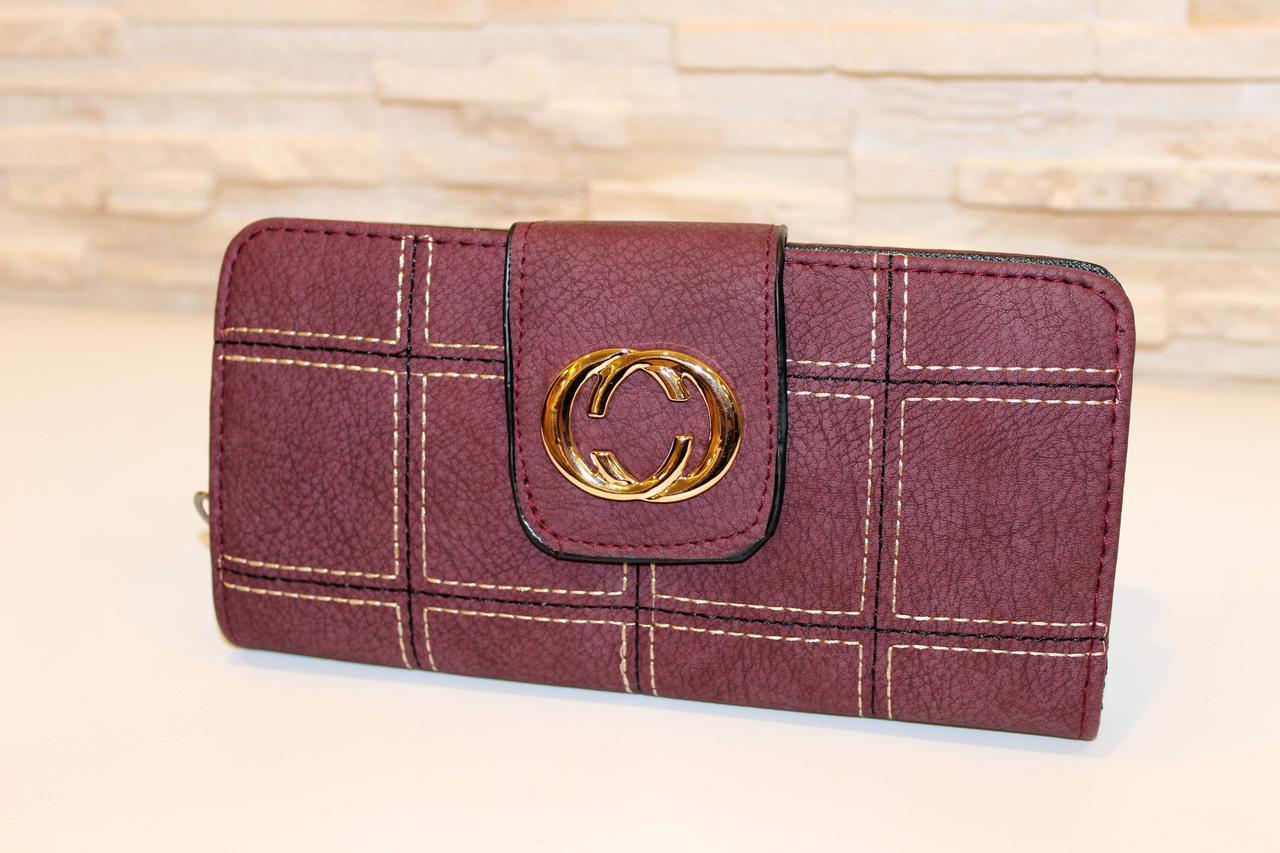 Вместительный женский кошелек фиолетовый на молнии код 284