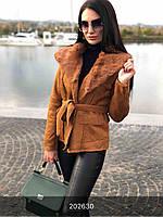 Дубленка женская коричневая легкая
