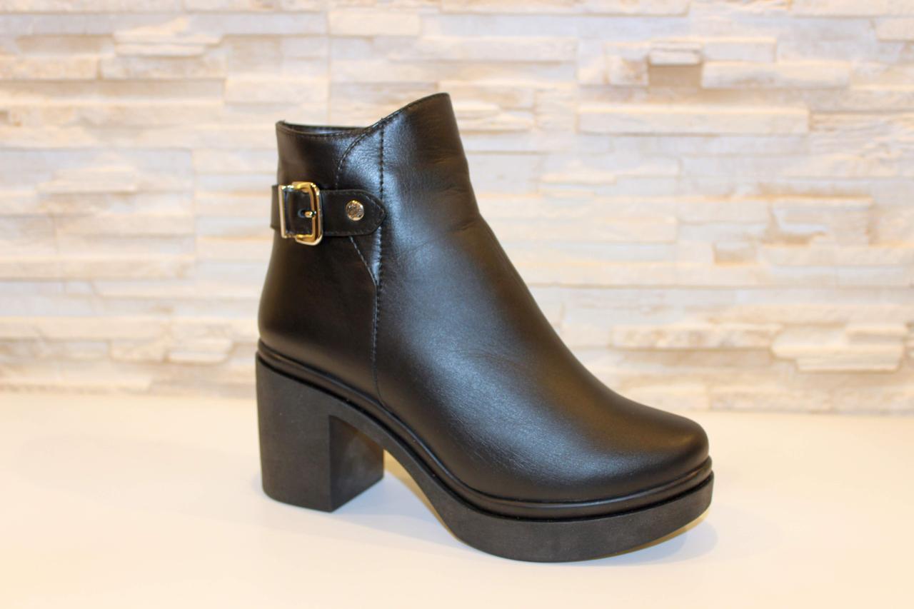 Ботинки зимние женские черные на каблуке натуральная кожа код С732