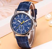 Кварцевые наручные мужские часы с синим ремешком код 443