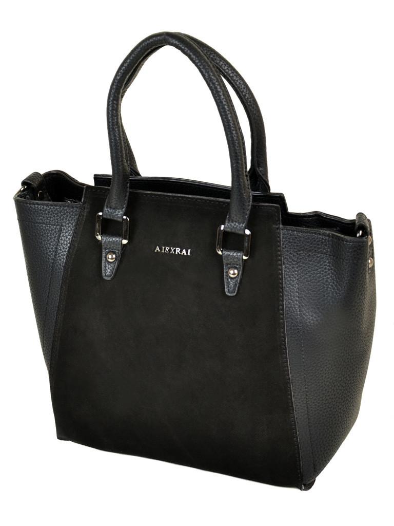 Классическая женская сумка черная натуральная замша код 25-115