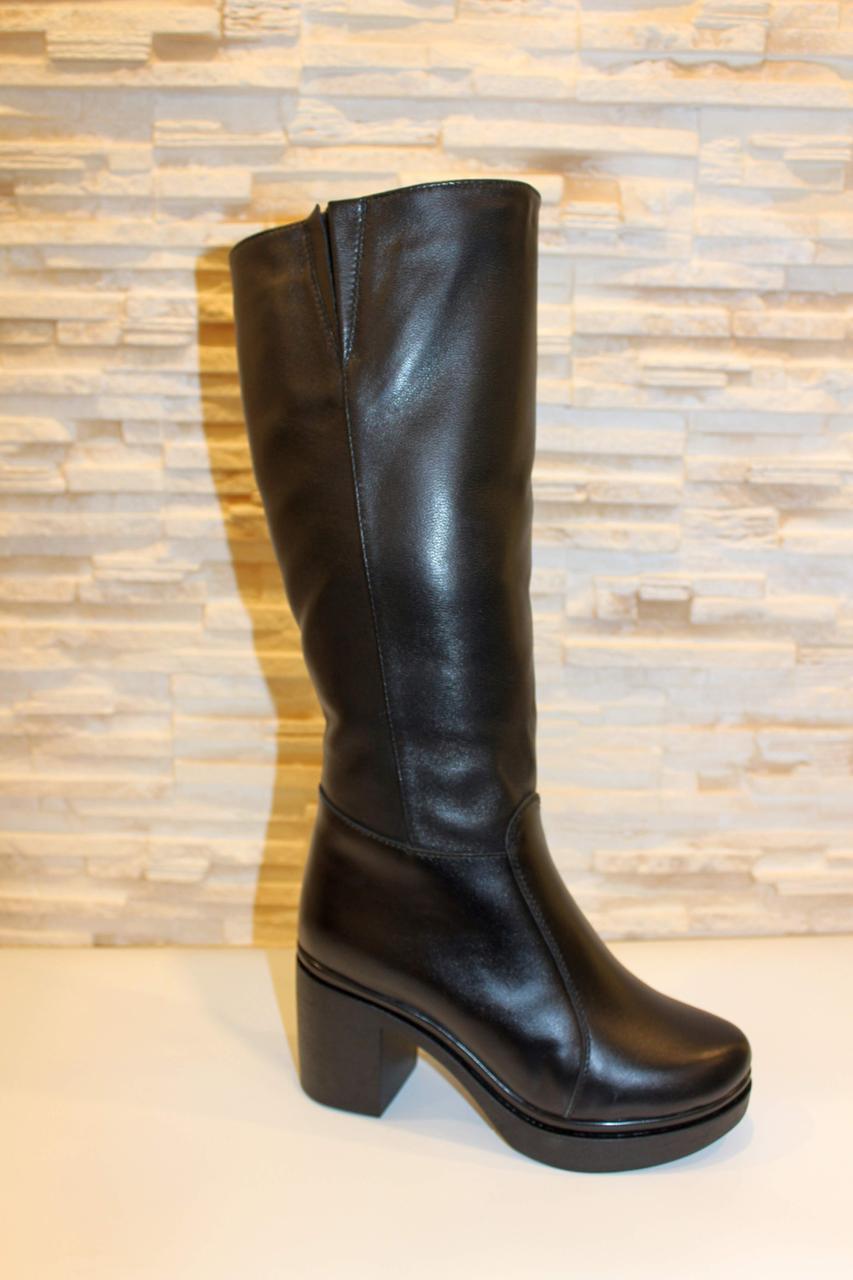 Сапоги женские зимние черные на каблуке натуральная кожа код С760
