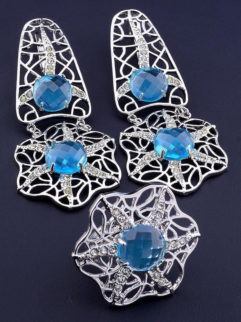 Комплект украшений серьги и кольцо с голубыми фианитами код 1557