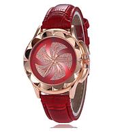 Модные женские часы с красным ремешком код 454