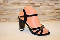 Босоножки черные женские замшевые на каблуке Б95