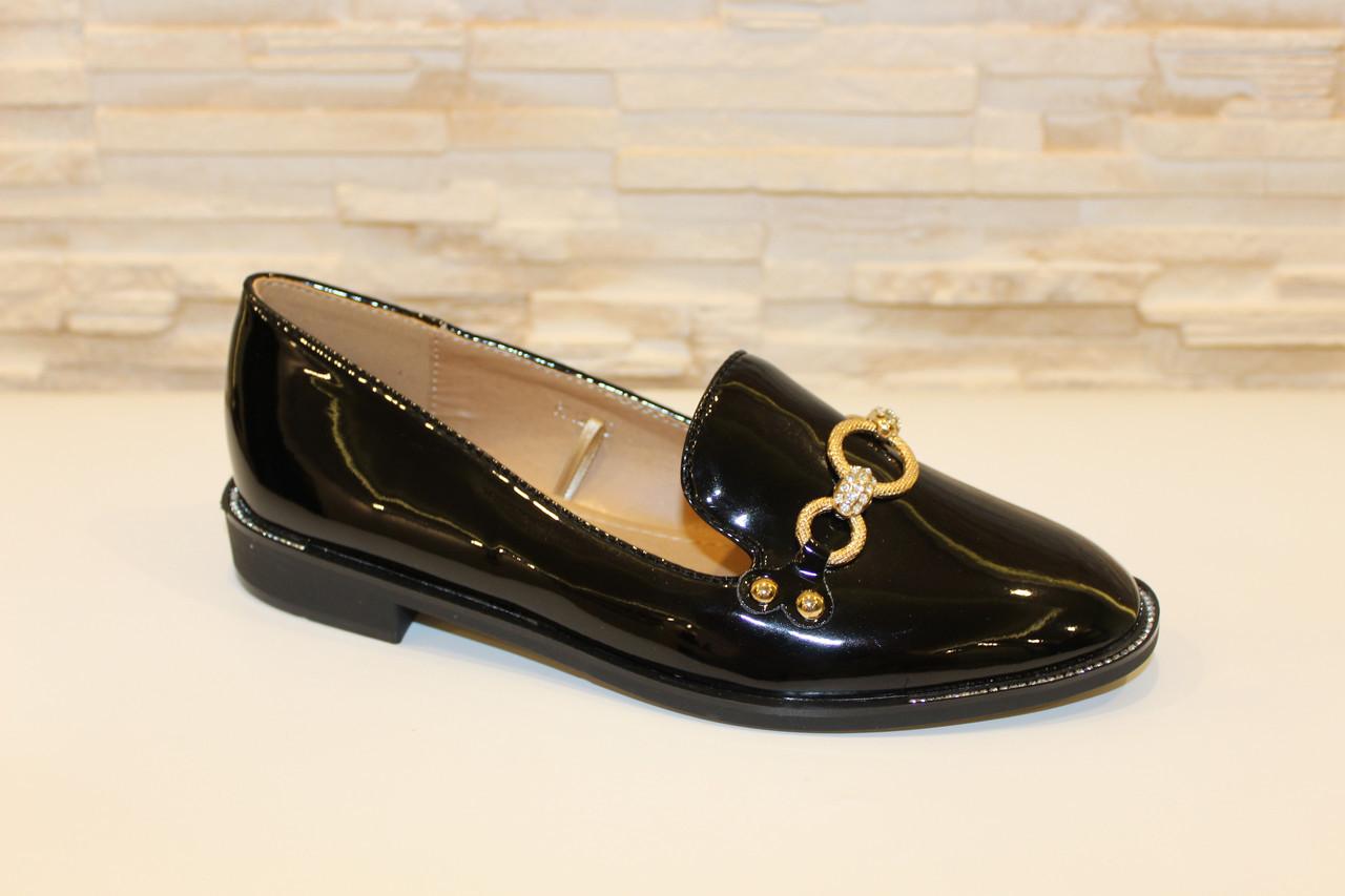 Туфли женские черные лаковые с пряжкой код Т159