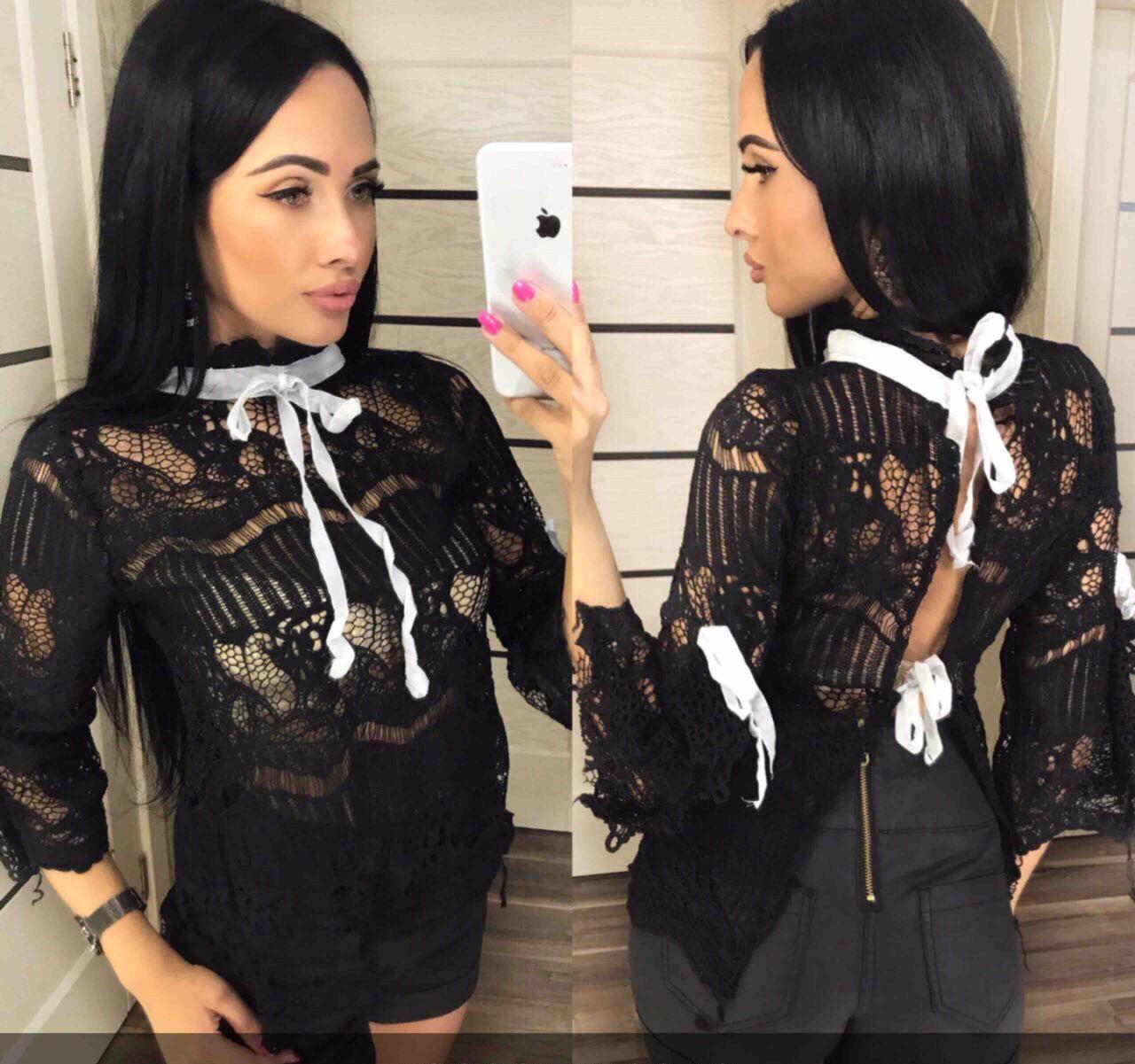 Блузка женская черная на завязках П92