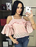 Блузка женская розовая гипюр