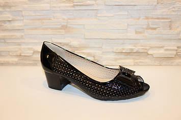 Туфли женские черные летние на каблуке код Б126