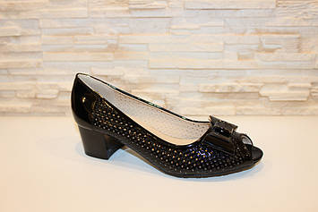 Туфлі жіночі чорні літні на підборах код Б126