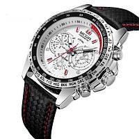 Мужские люксовые часы с черным ремешком код 447