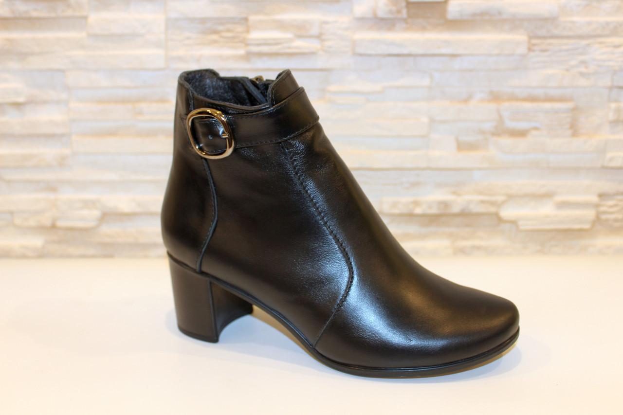 Ботиночки женские черные натуральная кожа на удобном каблуке код Д581