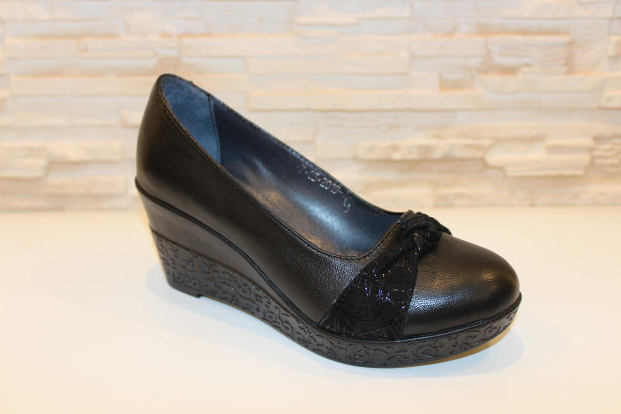 Туфли женские черные на танкетке натуральная кожа код Т227