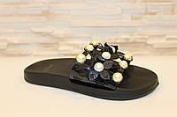 Шлепанцы женские черные с цветами Б134