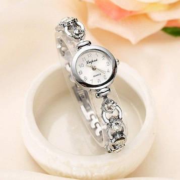Наручний годинник жіночі з срібним браслетом і кристалами код 155