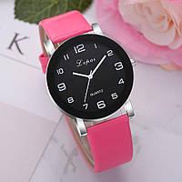 Кварцевые женские часы с розовым ремешком код 439, фото 1