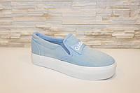 Слипоны джинсовые женские голубые код Т238, фото 1