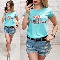 Футболка женская летняя реплика Balenciaga качество турция цвет голубой, фото 1