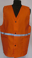 Жилет сигнальный 100% хлопок, со светоотражающими лентами (оранжевый, плотный, качественный)