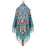 Река любви 1773-11, павлопосадский платок шерстяной (двуниточная шерсть) с шелковой вязаной бахромой, фото 3