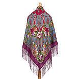 Река любви 1773-15, павлопосадский платок шерстяной (двуниточная шерсть) с шелковой вязаной бахромой, фото 2
