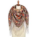 Донские зори 1801-2, павлопосадский платок шерстяной (двуниточная шерсть) с шелковой вязаной бахромой, фото 2
