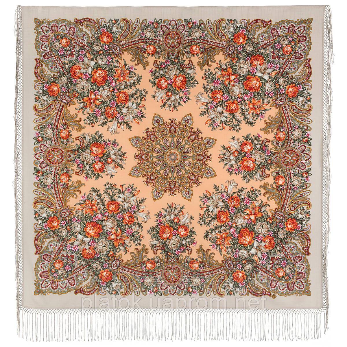 Донские зори 1801-2, павлопосадский платок шерстяной (двуниточная шерсть) с шелковой вязаной бахромой