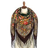 Донские зори 1801-17, павлопосадский платок шерстяной (двуниточная шерсть) с шелковой вязаной бахромой, фото 2