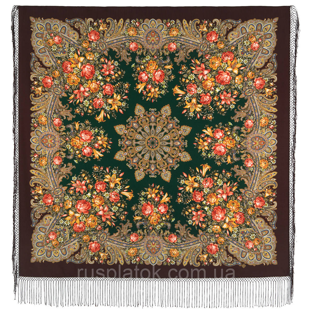 Донские зори 1801-17, павлопосадский платок шерстяной (двуниточная шерсть) с шелковой вязаной бахромой
