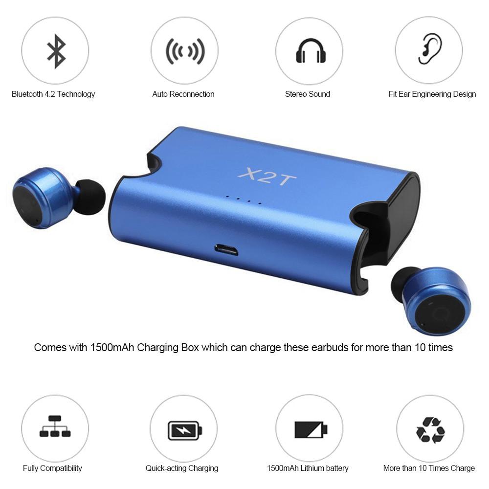 Bluetooth-наушники X2T Беспроводные мини-наушники с зарядным чехлом - синим