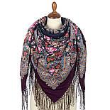 Донские зори 1801-8, павлопосадский платок шерстяной (двуниточная шерсть) с шелковой вязаной бахромой, фото 2