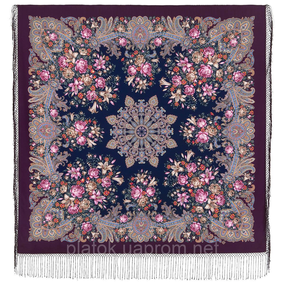 Донские зори 1801-8, павлопосадский платок шерстяной (двуниточная шерсть) с шелковой вязаной бахромой