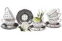 Чайный фарфоровый набор Минималист: 6 чашек 250 мл + 6 блюдец 15 см, фото 1