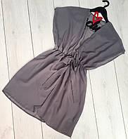 Женская пляжная туника из шифона 302 серый.
